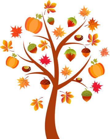 Fall Tree Vector, Pumpkin Tree, Autumn Tree