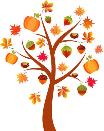 arbre automne: Arbre d'automne vecteur, Citrouille Arbre, Autumn Tree Illustration