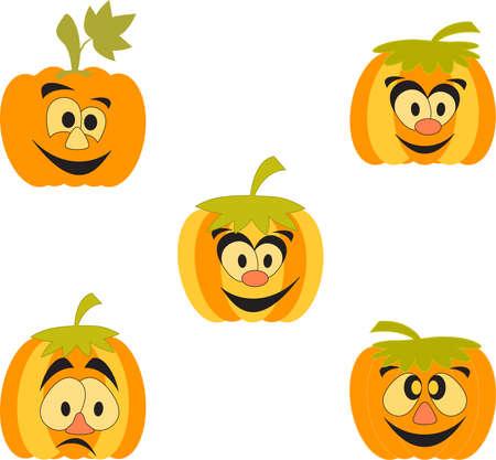 Isolated Orange and Yellow Pumpkins, Cartoon Pumpkins 向量圖像