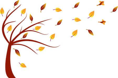 Fall Tree Vector, Autumn Tree Illusztráció