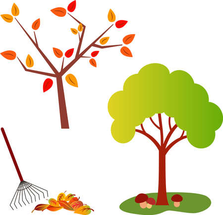 raking: Fall Tree Vector, Green Tree Vector