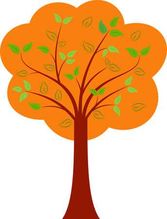 Isolated Fall Tree Vector, Autumn Tree Illustration