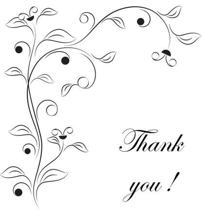 Black and White Flowers, Thank You Card