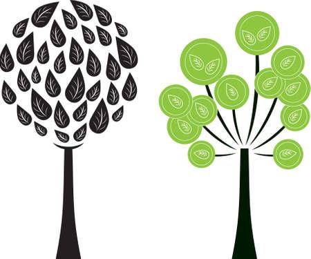 groene boom: Black and White Tree Vector, Green Tree Vector