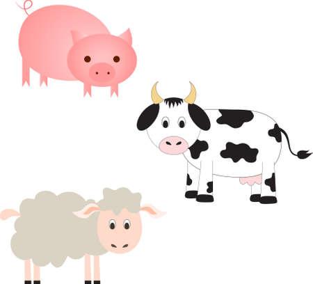 Farm Animal Vectors, Cow Vector, Sheep Vector, Pig Vector
