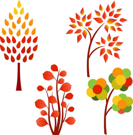 Fall Tree Vector, Autumn Tree Illustrations Çizim
