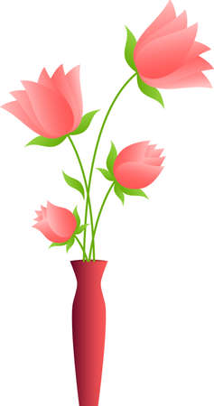 Pink Flower with Brown Vase, Pink Tulips