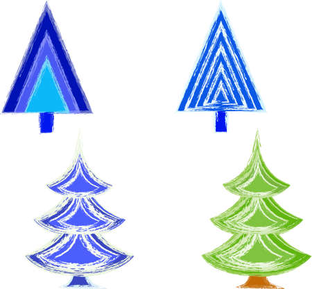 Isolated Cristmas Tree Vectors