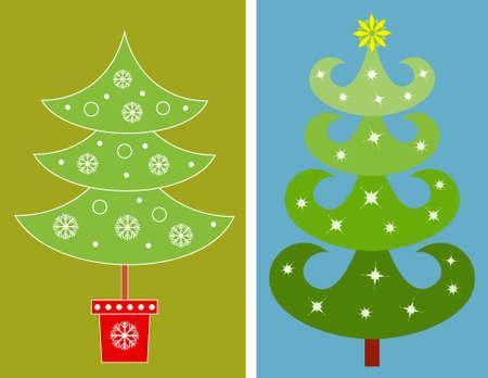 Christmas Tree Vectors, Green Tree Illustrations