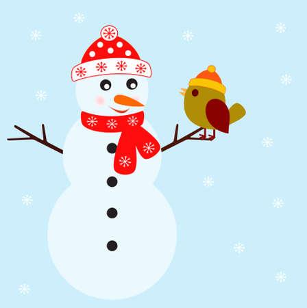 Sneeuwman en Vogel Vectoren Stock Illustratie