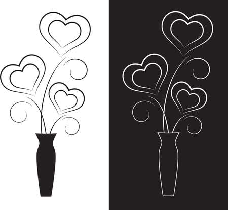 at white: Black and White Hearts Illustration