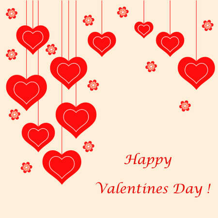 Red Hearts Card, Valentines Card 向量圖像