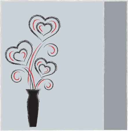 Black and Red Hearts Vectors with Black Vase on Blue Background