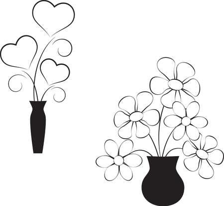 黒と白の花、黒と白のハート
