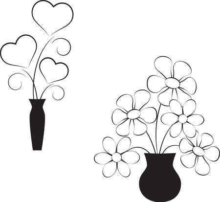 Black and White Flowers, Black and White Hearts 向量圖像