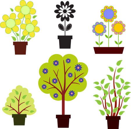 pink bushes: Flowers, Trees, Bushes Vectors