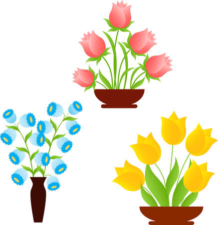 Yellow Tulips, Pink Roses, Blue Flowers