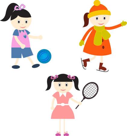 Girls, Sports Players Illustration