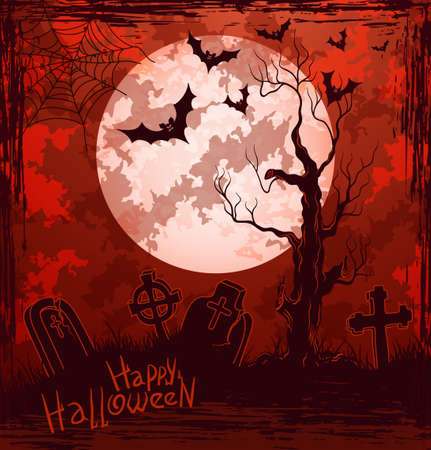 Grungy halloween background with full moon, tombstones, bats and spiders Illustration