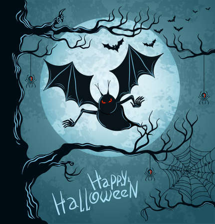 Grungy halloween background with terrible vampire, full moon, bats and spiders Illustration