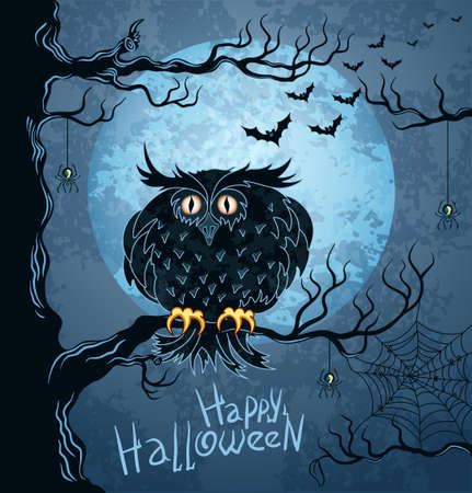 Grungy halloween background with terrible owl, full moon, bats and spiders Vector