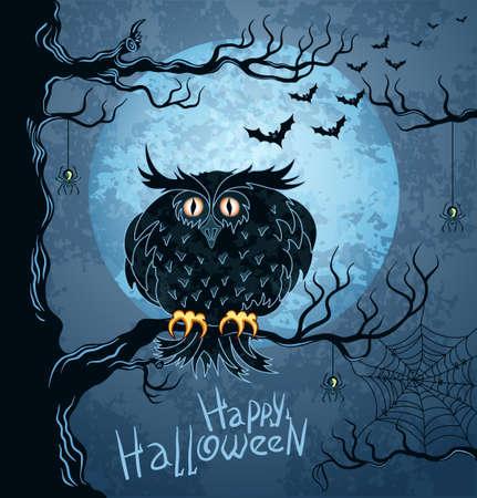 aranha: Grungy halloween fundo com terr�vel coruja, lua cheia, morcegos e aranhas Ilustra��o