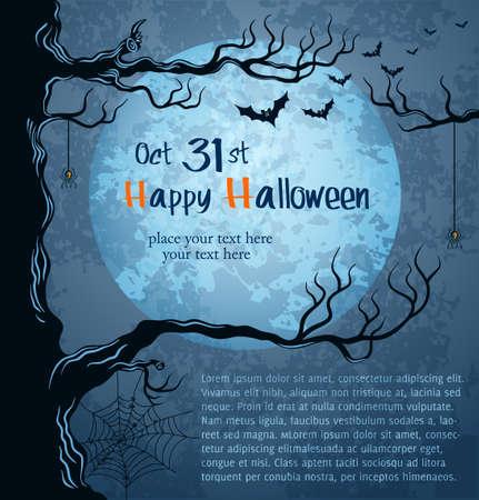 volle maan: Grungy Halloween achtergrond met volle maan, vleermuizen en spinnen