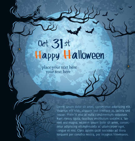 cartoon autumn: Grungy halloween background with full moon, bats and spiders