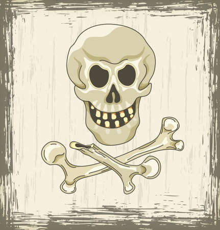 Grungy halloween background with skull and crossbones Illustration