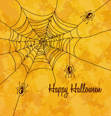 Grungy halloween background with web and spiders Illustration