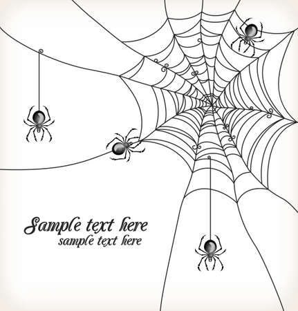 Background with spiders and cobweb Vector