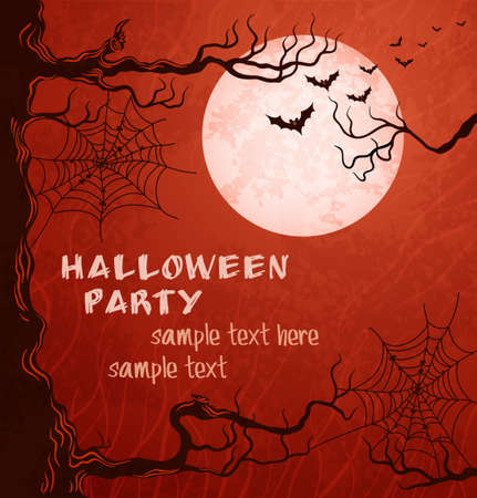 Grungy halloween background with moon, bats and spider web Vector