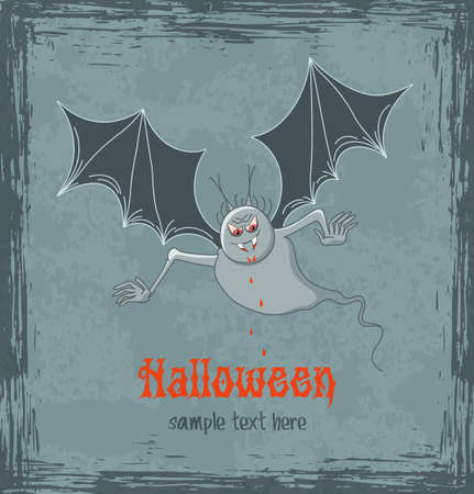 Grungy halloween background with terrible vampire Illustration