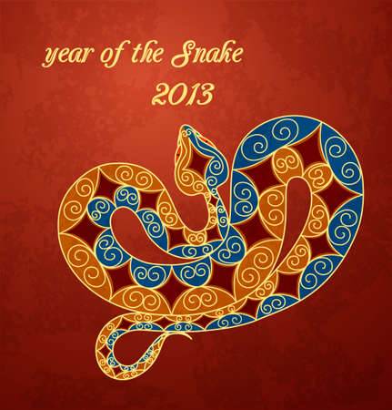 Card with colorful snake. 2013 new year  Stock Vector - 15330366