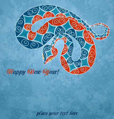Card with colorful snake. 2013 new year Stock Vector - 15330361
