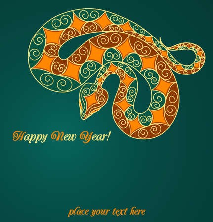 Card with colorful snake. 2013 new year Vector