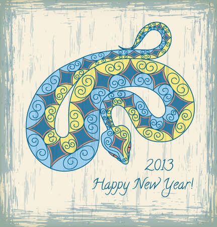 Card with colorful snake. 2013 new year. Vector Illustration. Vector