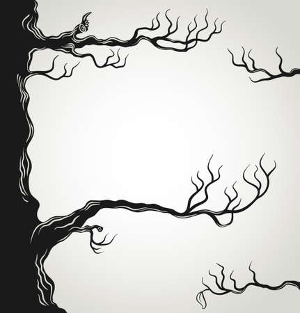 death symbol: Black tree branches silhouette isolated on white background