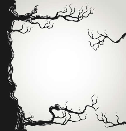 Black tree branches silhouette isolated on white background