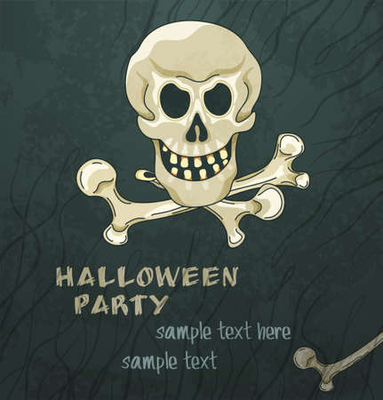 Grungy halloween background with skull and crossbones