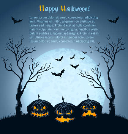 Halloween background with pumpkins, full moon and tree Illustration