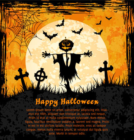 Grungy  halloween background with jack o lantern, full moon and bats   Vector