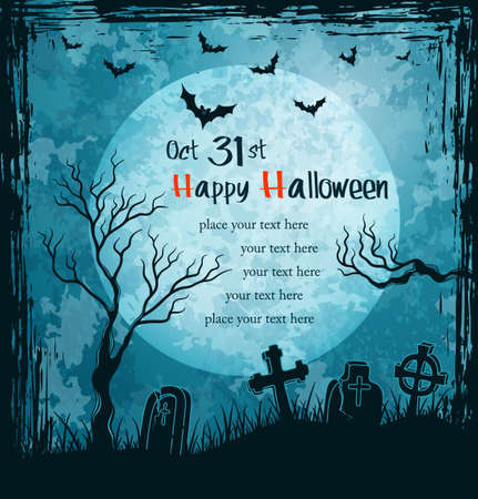 Grungy halloween background with full moon, tombstones and bats   Vector