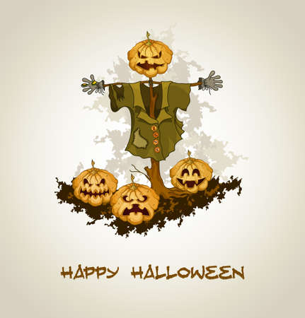 Halloween background with jack o lantern and pumpkins   Vector