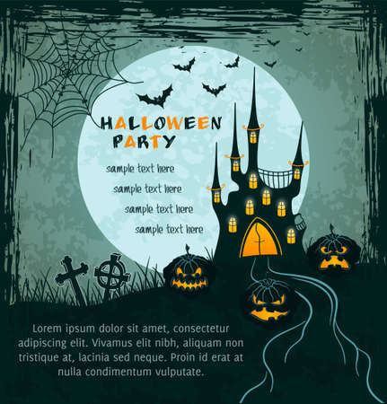 Grungy halloween background with spooky castle, full moon, tombstones and pumpkins