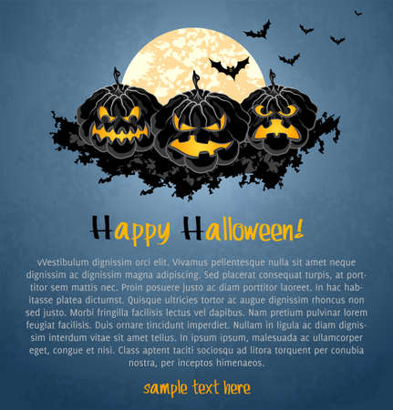 poster concepts: Halloween background with spooky pumpkins. Vector Illustration.
