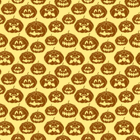Halloween seamless pattern with spooky pumpkins Vector