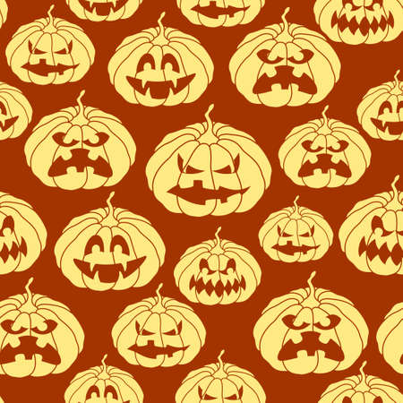 reiteration: Halloween seamless pattern with spooky pumpkins.