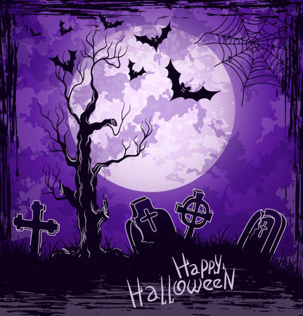Violet grungy halloween background with full moon, tombstones and bats Stock Vector - 15362617