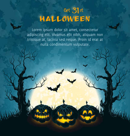 Orange grungy halloween background with spooky pumpkins, full moon, trees and bats